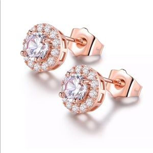 Jewelry - Sale 2/$30 Rose Gold Plated Crystal Earrings - NWT